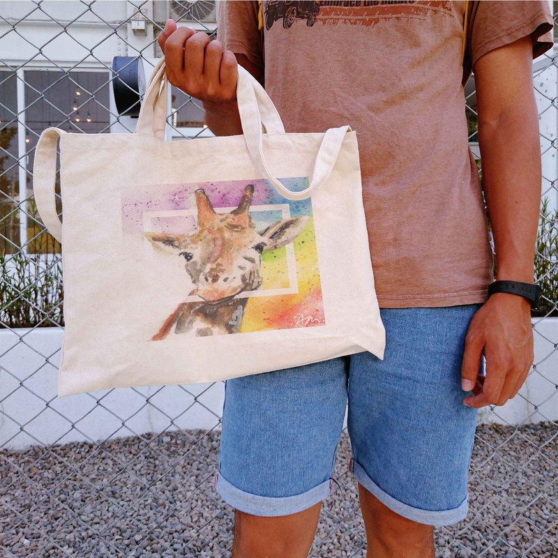 [Sam] Rainbow Giraffe Earth Rainbow Series horizontal canvas bag