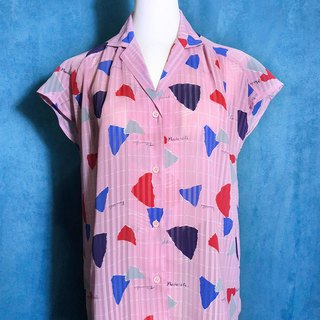 Hand-written color Plaid short-sleeved vintage shirt / Foreign back to VINTAGE