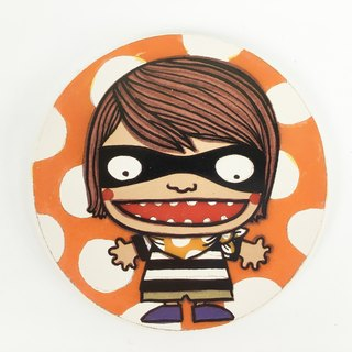 Nice Little Clay illustration small ceramic water coaster _ Robin 5702