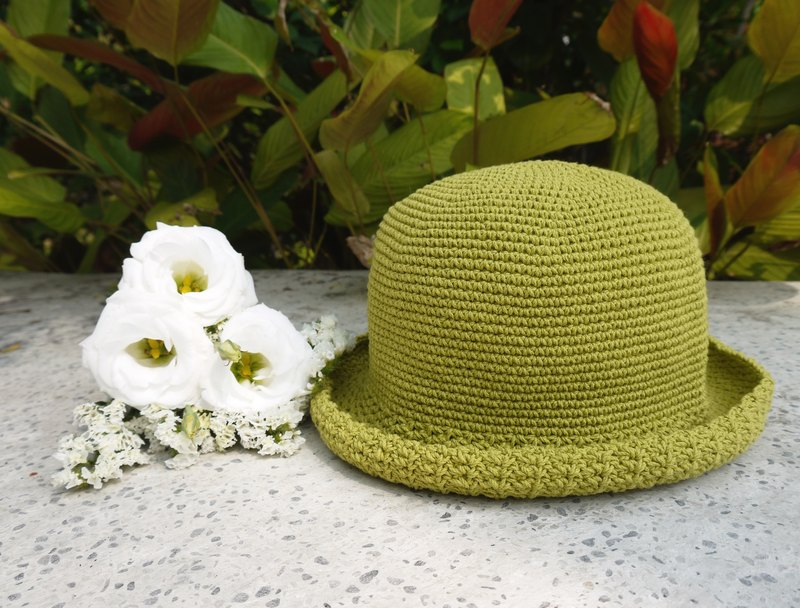 Mama の hand made hat - Summer cotton rope cap - simple in round hat / apple green / Mother's Day / Picnic