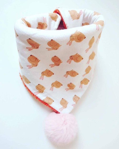 Bonbon baby handmade neck / neck with double-sided / scarves (orange rabbit models)