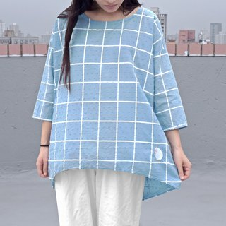 [Exclusive] The color selection barrier of the 38th Parrot - Large plaid cropped sleeves wide top