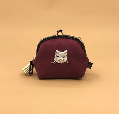 Cat Face Series White Cat Longhair Gold Coin Purse Sewing beads Change Contains chains