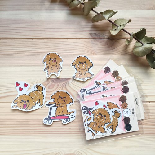 Boho Poodle / Creamy VIP / Dog Hand-painted / Animal Sticker