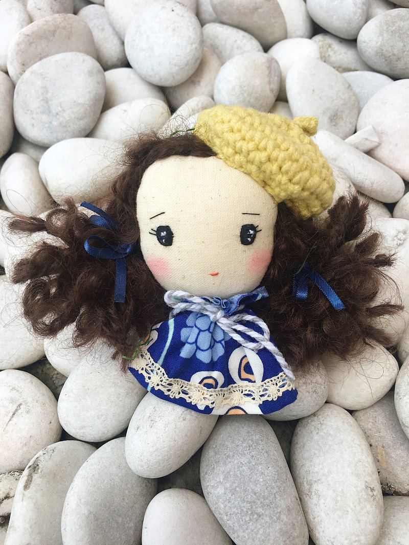 Handmade brooch- Cute girl with beret