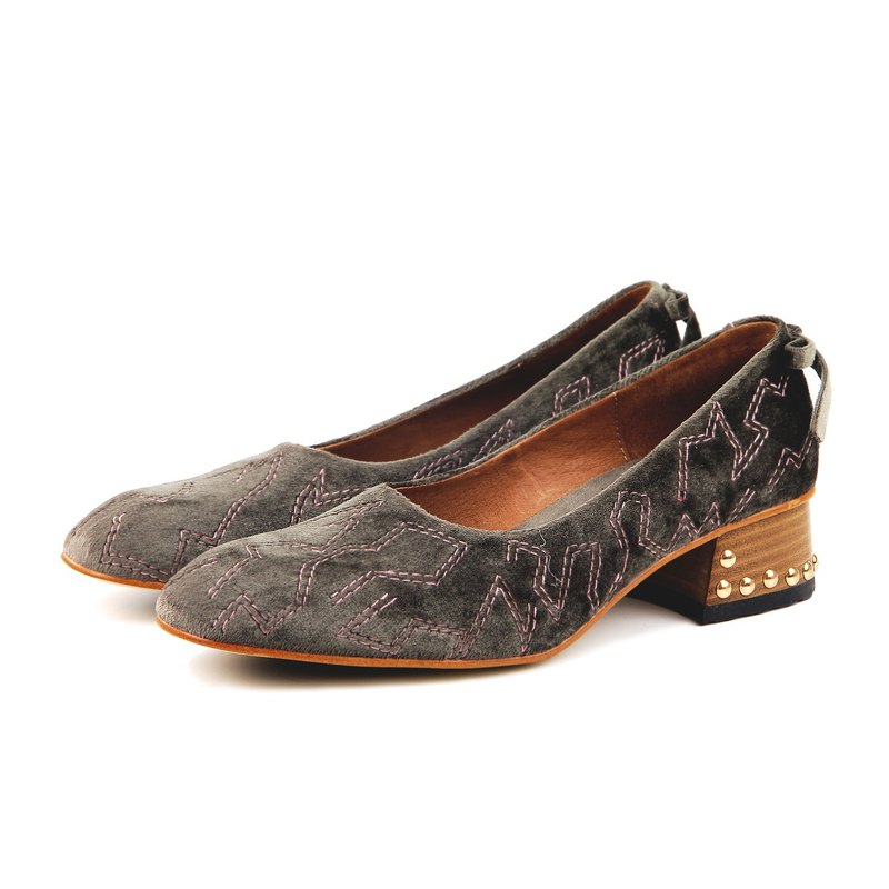Queenie W1061 KhakiGreen Velvet pumps