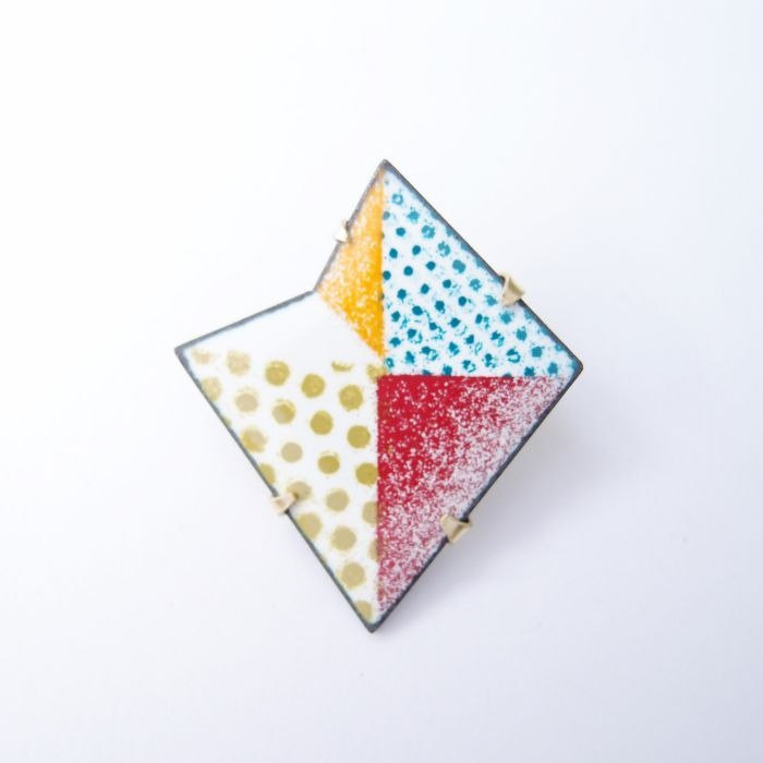 Folding series 4 enamel metal brooch