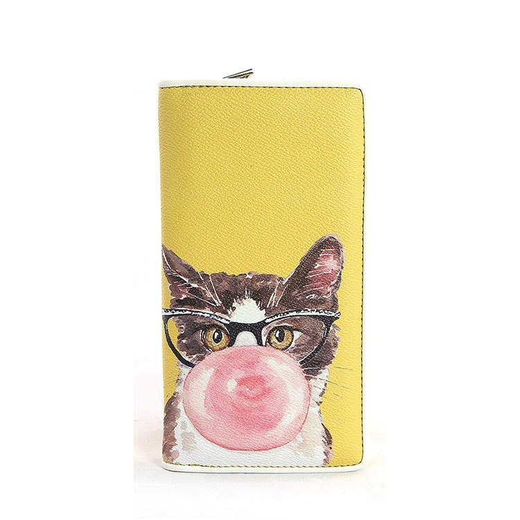 Ashley. M - Bubble Gum Cat in Vintage Glasses Wallet - yellow color