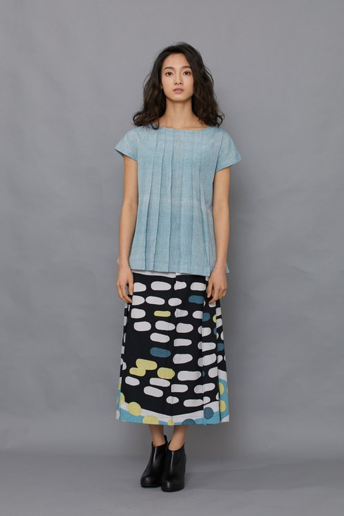 Long pleated skirt _ black night water shore _ fair trade