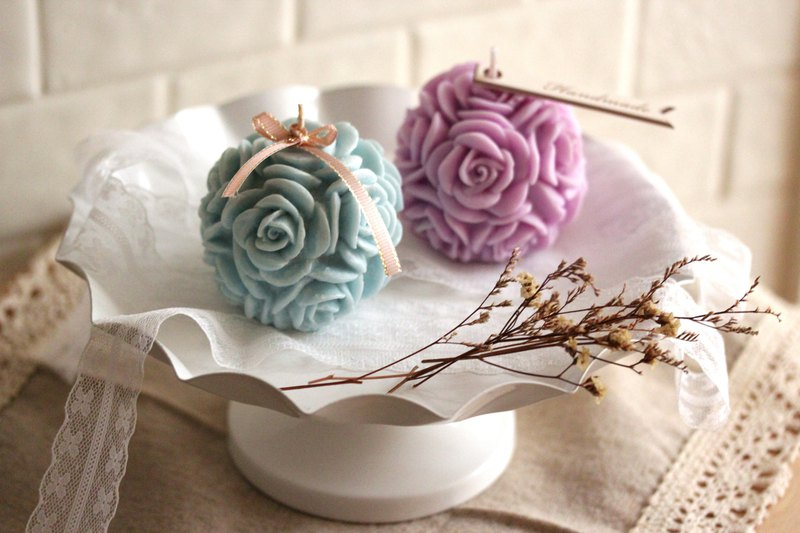 [Weila Handmade] Medium Rose Scented Candle / Wedding Small Object / Customized Gift / Green Candle