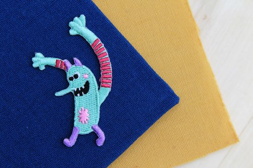 Five-tooth long-arm self-adhesive embroidered cloth stickers - Monster planets whimsical world series