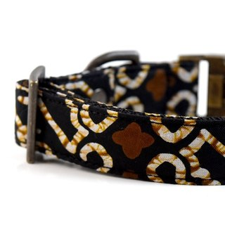 Ethnic Batik Dog Collar- Black, Brown - Antique Brass