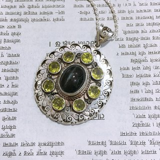 Peridot and Cat eye Pendant Handmade in Nepal 92.5% Silver