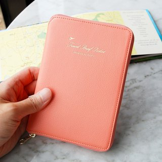 PLEPIC stylish light zipper passport package - coral powder, PPC93747