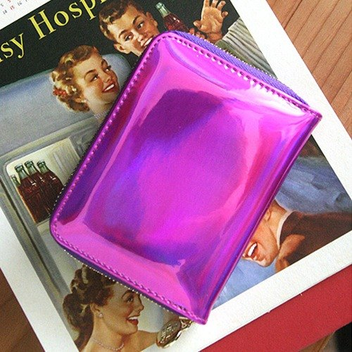 Korea Socharming-3D psychedelic organ short clip Holic Hologram Accordion Purse-PinkPurple