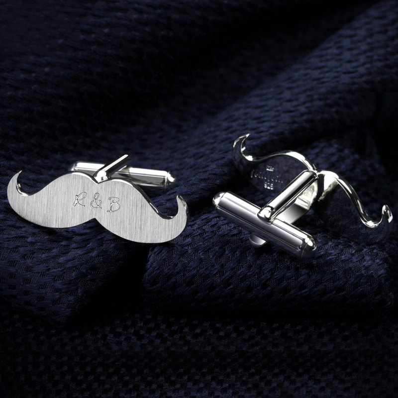 Mustache Cufflinks Personalized – Wedding cufflinks for groom - Silver 925