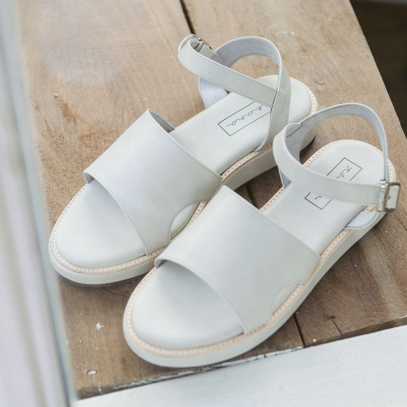 Simple Strap Sandals - Light grey