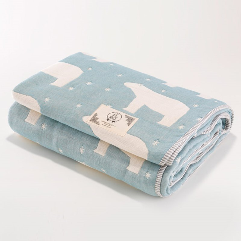 [Made in Japan Sanhe Kapok] Six-gauge gauze is thick-Guardian Polar Bear (blue) L
