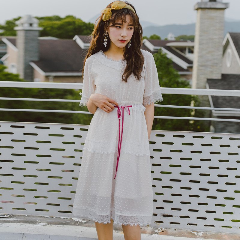Annie Chen 2018 summer new literary women detachable belt dress dress