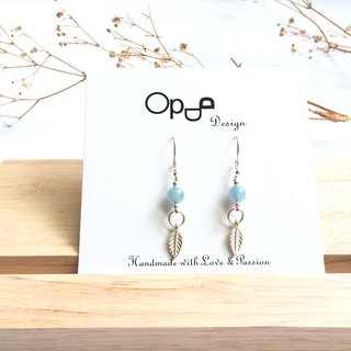 Ops Aquamarine Blue  Silver earrings-海藍寶/羽毛/手工/耳環/