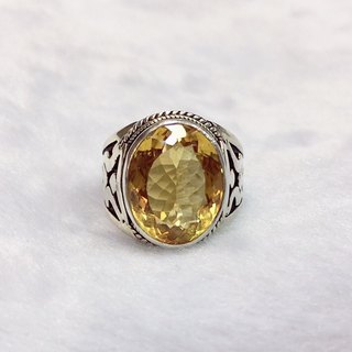 Citrine Ring in Nepali design Handmade in Nepal 92.5% Silver