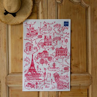 French wipes / Paris landmark (red) hanging towel