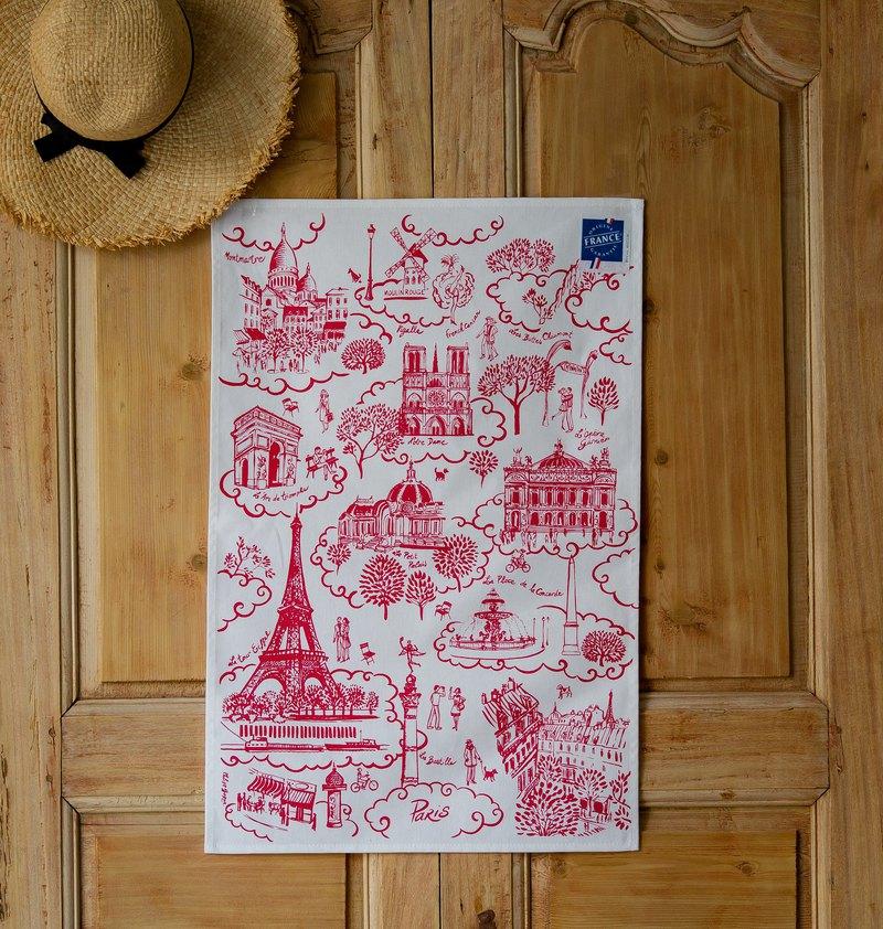 法國擦拭巾 / 巴黎地標(紅)掛巾