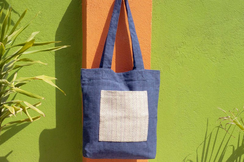Cotton and linen hand-woven cloth bag Messenger bag side backpack shoulder bag Tote bag shopping bag - blue highway