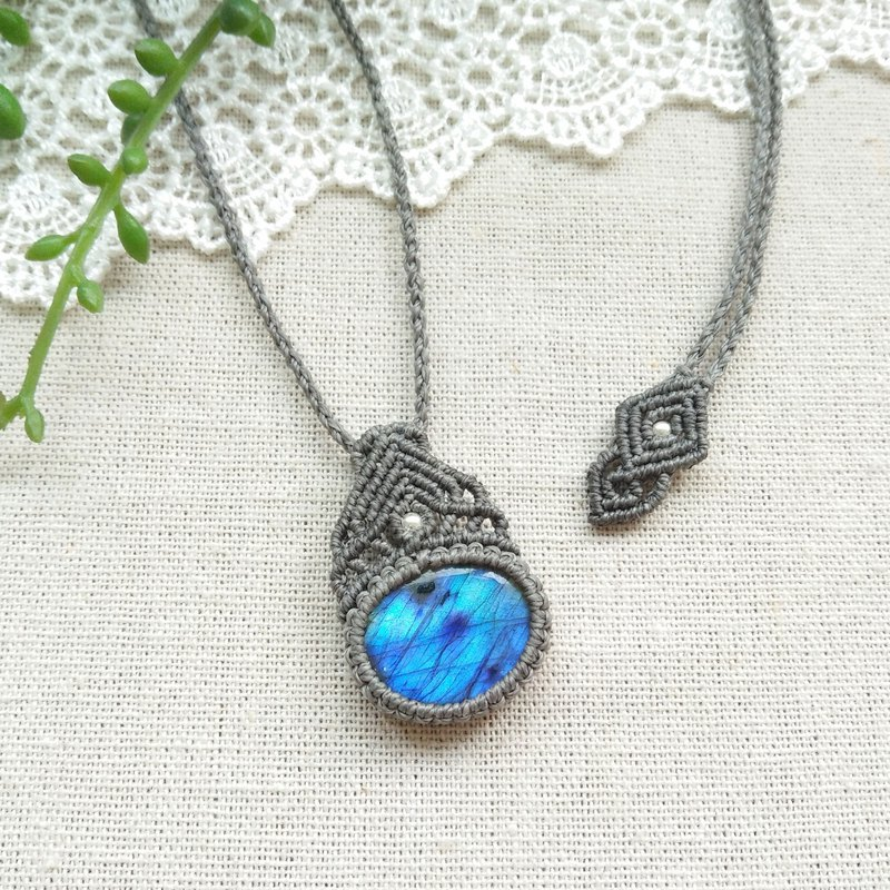 BUHO hand-made. Blue sky. Blu-ray Labradorite X South American Brass Necklace
