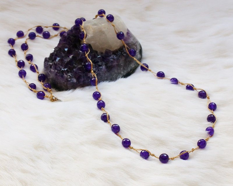 Hand crocheted multi function semi precious stone necklaces
