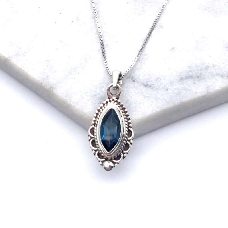 Blue Topaz 925 sterling silver exotic lace necklace Nepal handmade mosaic production (style 3)
