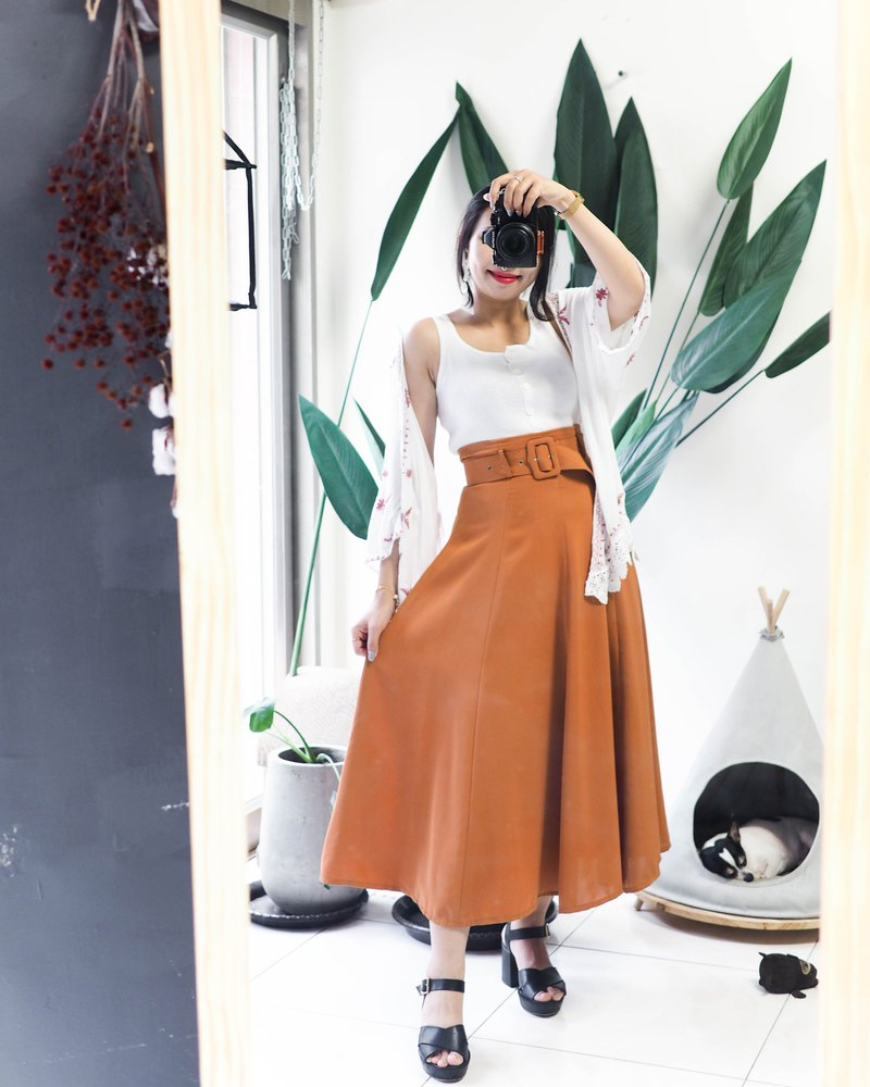 Kagoshima color bright orange summer sun sand sea vacation time antique cotton large round skirt A skirt dress