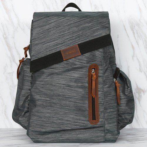 Waterproof Polyester AMOUX Grey Color Multi Compartments Men Backpack