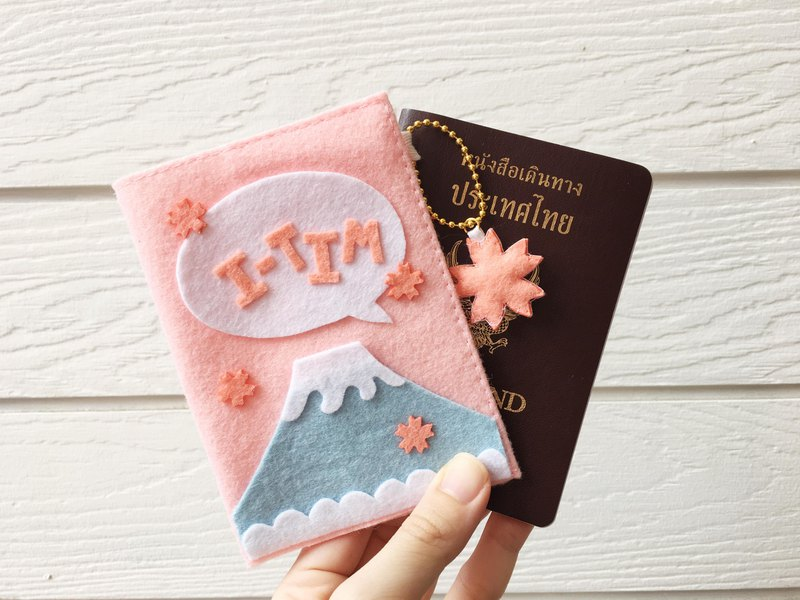 Baby pink sakura keychain and fuji passport cover with your name.