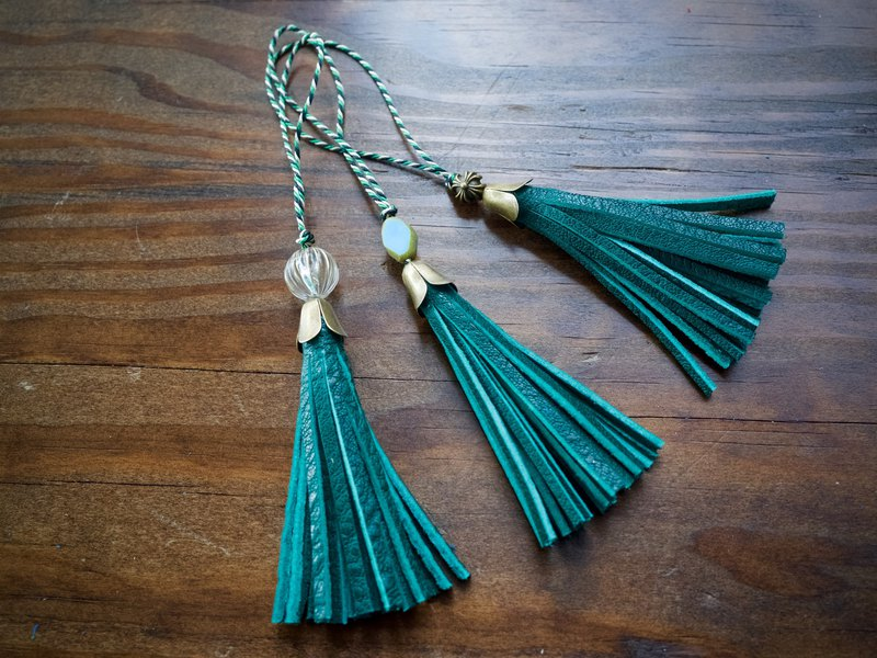 JAPAN Leather Mini Tassel Bottle Green