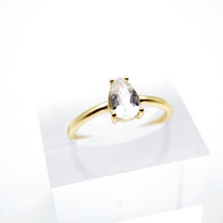 DROPLET WHITE TOPAZ RINGS ( SILVER/ 18K GOLD/ ROSEGOLD ) | TOPAZ COLLECTION