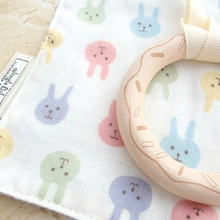 Baby Teething Blanket, Rattle Teether, Wooden Toy, Japanese Cotton, Bunny