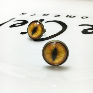 Handmade earrings bronze cat pupil impression 〖〗 warm orange cat ◙ ◙ another provide improved clip-on