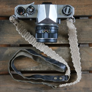 Leather and linen combination camera strap
