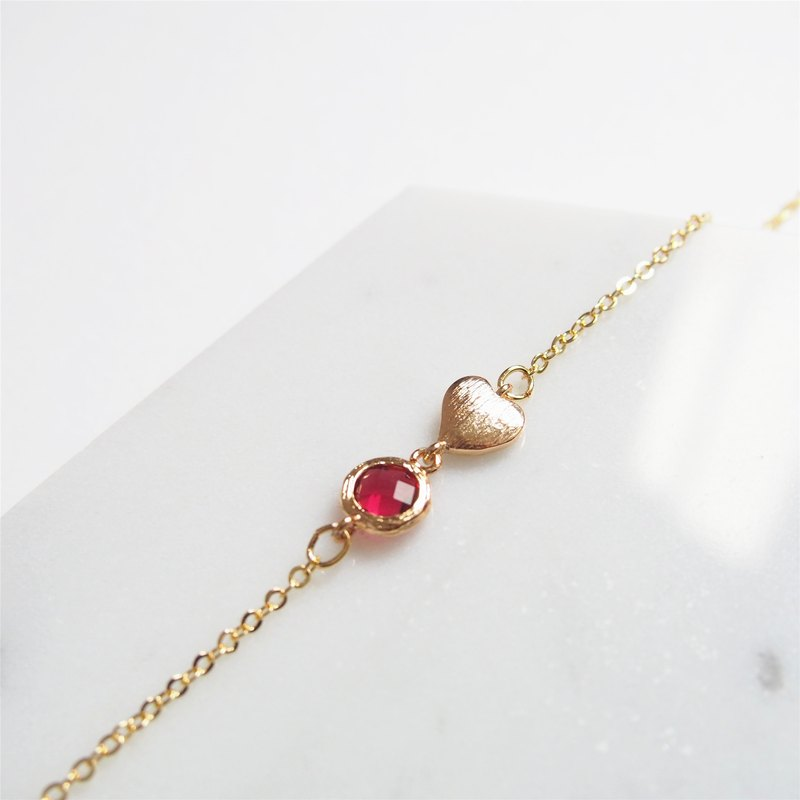 Girl Heart Launch, Gold Plated Glass, Imitation Gemstone, Gold Plated Heart Bracelet (Red)