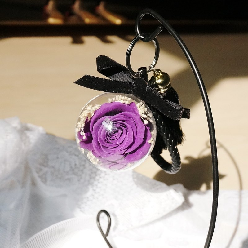 Eternal flowers transparent ball key ring (large) - purple roses