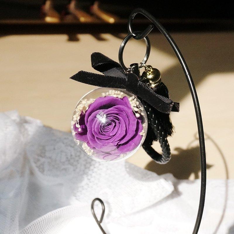 永生花透明球球鑰匙圈(大)-紫色玫瑰