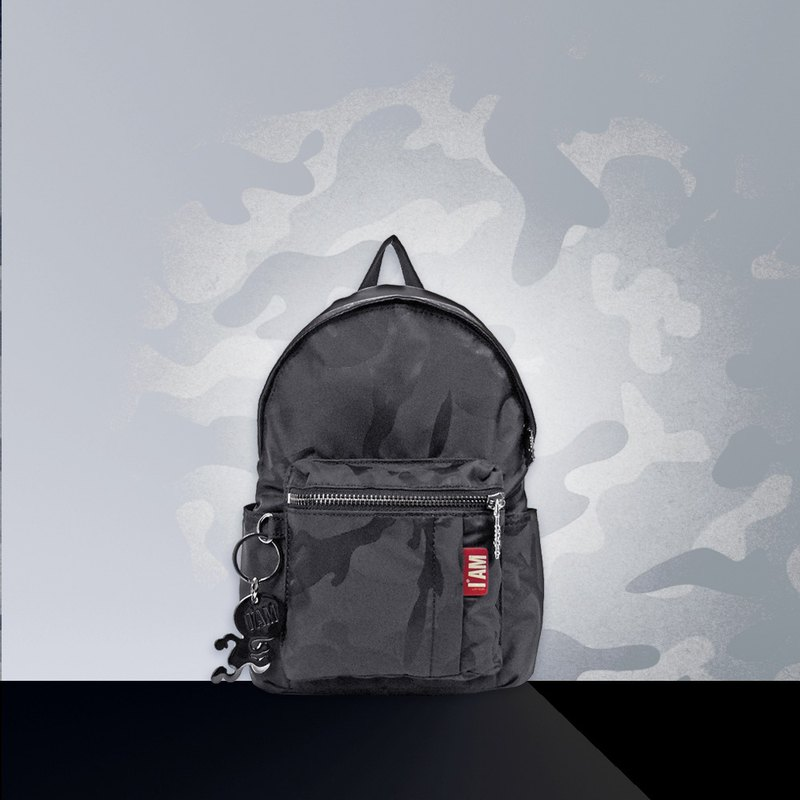 Free shipping I AM-XS black camouflage back side backpack