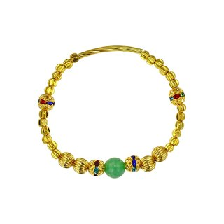 Natural stone green agate brass bracelet