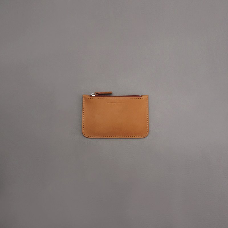 Flat purse leather wallet wallet / tan vegetable tanned leather / handmade leather