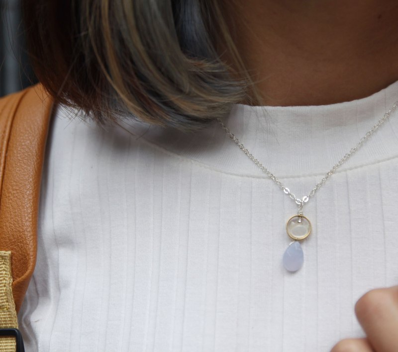 13 / 14mm all natural no optimization section blue chalcedony, brass, fritters 925 sterling silver necklace 13 / 14MM Chalcedony with cat shape mother pearl 925 silver necklace