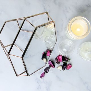 Experimental Project / Zero One / Geometric Lines - Diamond Table Mirror Trinket Table - Champagne