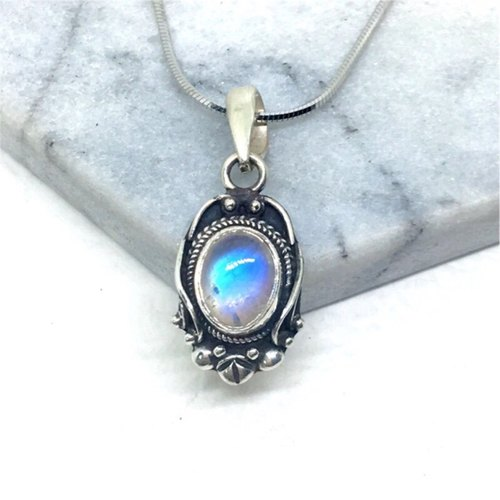 Moonlight stone 925 sterling silver retro magic mirror style necklace Nepal handmade mosaic production