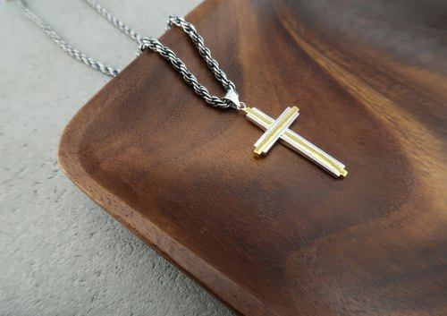 Cross・Necklace  24K Gold Sterling Silver