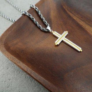 Cross Necklace  24K Gold Sterling Silver